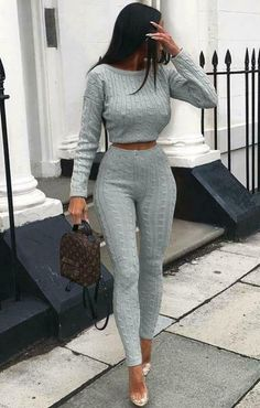 New Women Cable Knit Crop Top Lounge Wear Suit Ladies Co ord Tracksuit Set Moda Instagram, Loungewear Outfits, Loungewear Set, Sleepwear Women, Women's Sleepwear, Mode Outfits, Winter Outfits, Casual Outfits, School Outfits