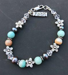 """""""Faith"""" Handmade Beaded Bracelet"""