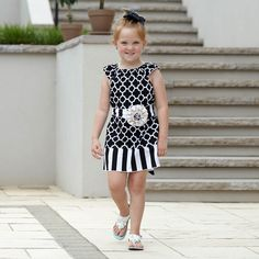 Black Quatrefoil Stripe Charlotte Dress – Lolly Wolly Doodle