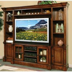 Oak furniture west quot sorrento quot collection 5 piece entertainment wall