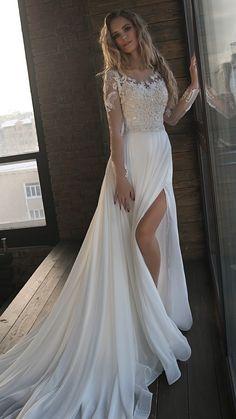 Olivia Bottega vintage beaded wedding dress with long sleeves #bridalfashion #weddingdress #weddingdress2018