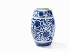 Rare Blue and White Ming-Style Barrel-Shaped Jar, China, Qianlong mark and period (1735-1795)