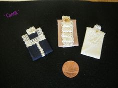 1:12 Scale Hand-Made Doll house Miniature  3 ASSORTED FOLDED LACE DETAIL BLOUSES