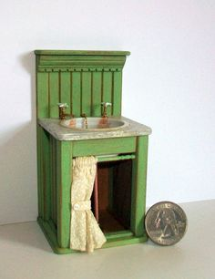 Miniature Shabby Green Sink 1 inch dollhouse by MarquisMiniatures