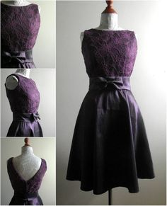 Purple Lace Bodice Cocktail Dress by flossyanddossy on Etsy, £100.00