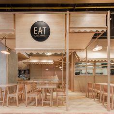 restaurant in Bangkok's EmQuartier, create a monochrome interior that looks like it's made from balsa wood