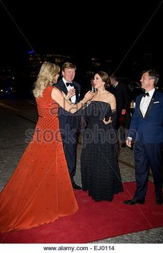 Copenhagen, Denmark. 18th Mar, 2015. Crown Prince Frederik and Crown Princess Mary of Denmark attend the return arrangement offered by King Willem-Alexander and Queen Maxima of the Netherlands to the Queen of Denmark at Black Diamond in Copenhagen, Denmark, 18 March 2015. The Dutch King and Queen are in Denmark for an two day state visit. © dpa picture alliance/Alamy Live News © dpa picture alliance/Alamy Live News - Stock Image