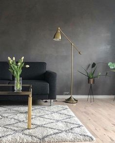 The dark shade of Lava mixed with brass elements and green plants by Feature Wall Living Room, Dark Living Rooms, Accent Walls In Living Room, Accent Wall Bedroom, Living Room Green, Dark Grey Feature Wall, Dark Grey Walls, Accent Wall Colors, Room Wall Colors