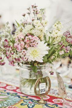 Our Wedding Flowers - summer wedding receptions flowers astrantia, spray roses, stocks, wax flowers, dahlias and raspberries Lucysaysido