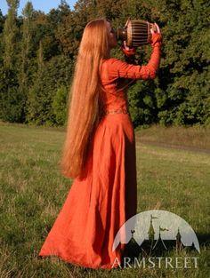 Original natural flax linen medieval style dress :: ArmStreet