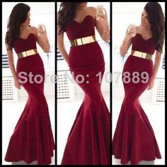 Fashion Hot Selling Long Evening Dress Mermaid Sweetheart Dark Red Prom Dress with Gold Belt Evening Gown Dresses Long Black Evening Dress, Prom Dresses 2015, Black Evening Dresses, Mermaid Evening Dresses, Evening Gowns, Prom 2015, Dress Long, Winter Formal Dresses, Formal Dresses For Women