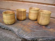 Replica Viking York cups turned from Ash. - looks similar the ones my father made us!