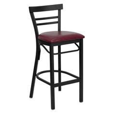 Flash Furniture 31 in. Hercules Metal Ladder Back Vinyl Seat Restaurant Bar Stool - Black Burgundy
