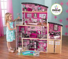 Craquez pour cette belle maison de poupée de plus d'1 mètre de haut ! Munie de nombreux petits accessoires décorés minutieusement, elle permettra à votre enfant de jouer des heures entières. Avec sa cour en bois et son ascenseur à coulisse, cette maison sera la plus chic du quartier ! Dimensions: 129 x 64 x 136 cm