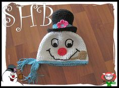 Frosty the Snowman crochet hat by Sugar Hiccups Boutique Pattern available in my Etsy shop: https://www.etsy.com/listing/212609066/the-frostiest-snowman-crochet-hat?