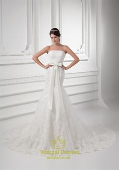Strapless Lace Wedding Dress With Bow,Lace Top Satin Bottom Wedding Dress