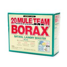 20 mule team borax - add it to liquid dish soap to tackle fridge shelves, pour it down clogged drain w boiling water, dilute and spray to kill mildew in bathroom. pour it in toilet and let sit overnight, swish w brush the next day and flush.