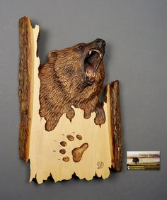 Bear Carved on Wood Wood Carving with Bark Hand Made Gift Wall Hanging for a hunt lovers Rustic OOAK Gift for Hunter Cabin Deco by Davydov