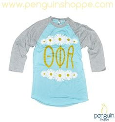 NEW! Monday's are hard enough, brighten your day with the Blue & Gray Daisy Baseball Jersey! Penguin Shoppe 29.50