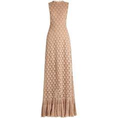 Ruffled-hem cashmere crochet-knit maxi dress Ryan Roche... (€885) ❤ liked on Polyvore featuring dresses, cashmere dress, flounce hem dress, knit maxi dress, crochet maxi dress and maxi dress