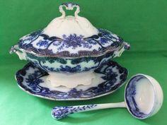 """Stunning Antique Flow Blue Bristol Pountney """"MILTON"""" Sauce Tureen & Ladle c.1880 #flowbluepottery"""