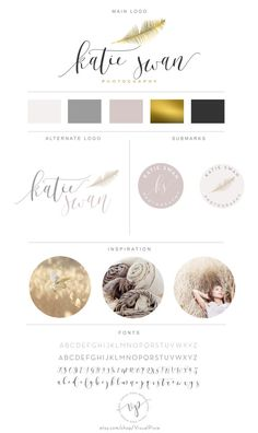 Branding Package - Gold Feather Neutal Colors Logo - Initials Logo - Photograhy Logo Watermark - Black Gold Logo Branding Identity Kit