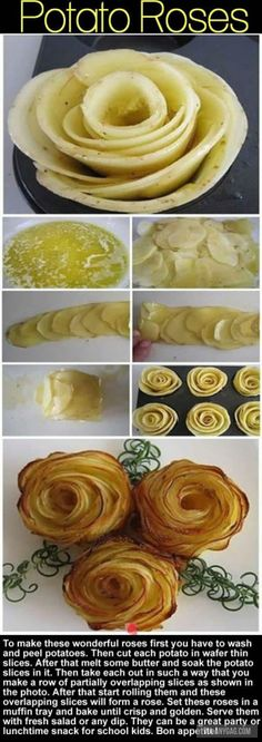 Beautify Your Brunch With These 15 Lux Potato Dishes Potato Roses Cute Food, Good Food, Yummy Food, Tasty, Food Decoration, Potato Dishes, Potato Meals, Creative Food, Food Art