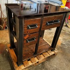 Im lovin the Smoked Black Powder Coated Steel Vanity Top we did for this Vanity! Free shipping on all of my Vanities! Check out my instagram for all my daily work @modern_reclaimed