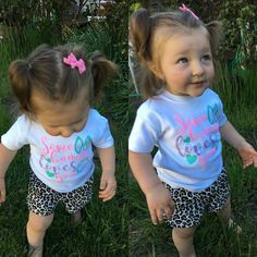 """Beautiful little Sophia is ready for Easter in her """"Some bunny loves you"""" T-shirt 🌹🐰 This T-shirt is available in sizes NB-3T 💖"""