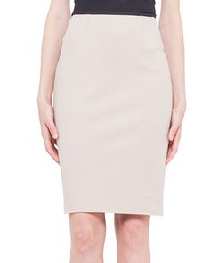 Contrast Waistband Techno Cotton Pencil Skirt by Akris punto at Neiman Marcus.