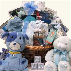 Grand Welcome - New Baby Boy Brimming with Fun Baby Gift Basket