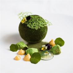 Matcha mousse, passionfruit curd, matcha jelly, meringue and dacquoise