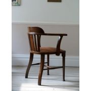 1920s Antique Oak Smokers Chair / Bow Chair