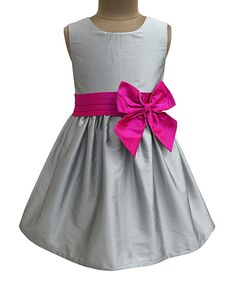 Take a look at this A.T.U.N. Silver & Fuchsia Penelope Dress - Infant, Toddler & Girls today!