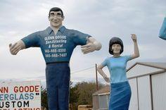 Goode's Giant people (Muffler Man and Uniroyal Gal) in Denton, Texas