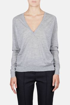 Proenza Schouler — Superfine Merino L/S Deep V Neck Sweater Light Grey Melange — THE LINE