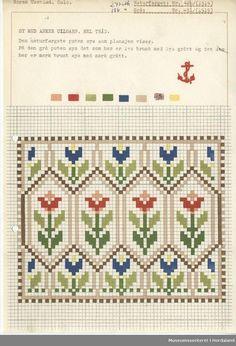 Trykt mønsterark i til brodert tekstil. Cross Stitch Bookmarks, Cross Stitch Heart, Cross Stitch Borders, Cross Stitch Flowers, Cross Stitch Designs, Cross Stitching, Cross Stitch Embroidery, Embroidery Patterns, Cross Stitch Patterns