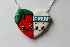 CharmingClayCreation: Strawberries and Cream Friendship Necklaces - £10.00