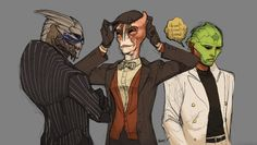 Aliens in suits by ~QueenSimia. Ahhh!!! Mordins little cap! Too cute