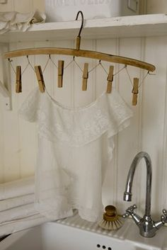 wooden lingerie hanger...lovely for small space laundry closets