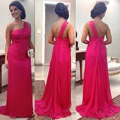 sexy evening dresses,cheap Prom Dresses,One Shoulder Ruffles Chiffon