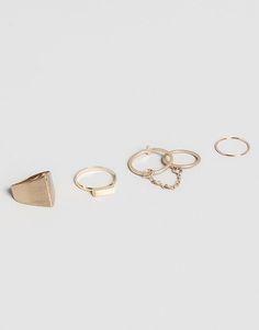 Pull&Bear - woman - little black dress - pack of 5 assorted rings - gold - 05994345-V2015