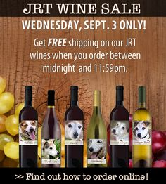 Get FREE shipping on our JRT wines when you order today (Wednesday, Sept. 3) only! All orders over $99 received through 11:59pm EST during this timeframe will be shipped via FedEx Ground for FREE! This is a one-time only offer and it means that all proceeds will go to the rescue. Get the whole collection at cost!