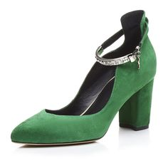 109.25$  Buy now - http://aliioh.worldwells.pw/go.php?t=32788884563 - 2017 Green color Women pumps 7.5 cm Chunky heel shoes Genuine leather Wedding shoes Woman on platform pumps Size 34-39 LMZ-H858 109.25$