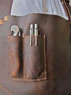 Custom pockets on a locally crafted leather server apron at Oxheart. Photo by Alison Cook