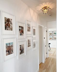 hallway decorating 256071928799361681 - 11 decorating ideas for a humdrum hallway Source by livabl Hallway Pictures, Family Pictures On Wall, Hallway Wall Decor, Hallway Walls, Hallway Ideas, Hallway Decorations, Photo Wall Design, Narrow Hallway Decorating, Flur Design