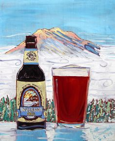 Beer Painting of Inversion IPA by Deschutes Brewing Company. Year of Beer Paintings - Day 220.