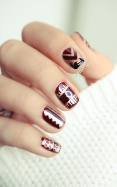 essie skirting the issue plus awesome tribal design= gorgeous nails!