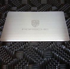 Porsche Metal Cards Brush Finish Stainless Steel BlackMetalBusinessCards