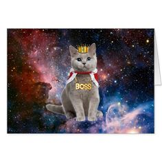 king cat in the space card